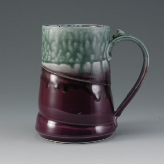 Large Handmade Pottery Mug Teal Blue and Purple Porcelain by Mark Hudak