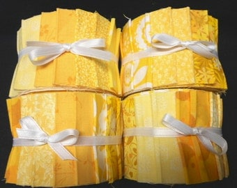Yellow Sunshine  Quilt Fabric Strips Jelly Roll by SEW FUN QUILTS