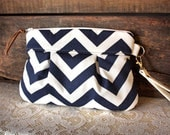Pleated Chevron Wristlet/ Pouch/ Clutch// Nautical stripe / Navy/White color-Made to Order