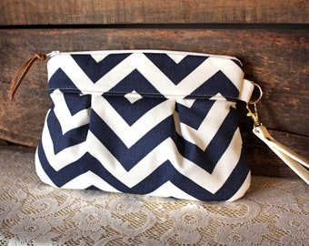 Pleated Chevron Wristlet/ Pouch/ Clutch// Nautical stripe / Navy/White color--Ready to Ship--