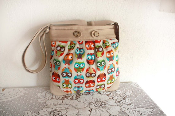 Hanna Hobo in Back to School Owls- Bags and Purses--Ready to Ship--Save 10% with code SAVE10
