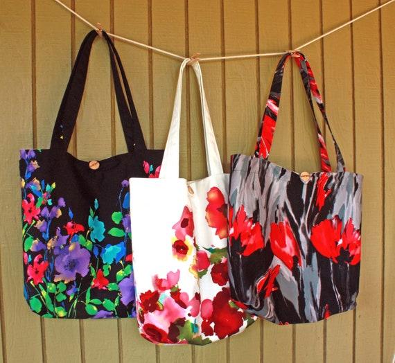 Market Tote in Grey /Multicolor floral--Ready to Ship--