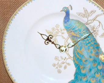 SILENT Turquoise and Gold Peacock Wall Clock, 9 Inch Turquoise Blue Porcelain Plate Wall Clock, Peacock Home Decor, Unique Wall Clock  2117