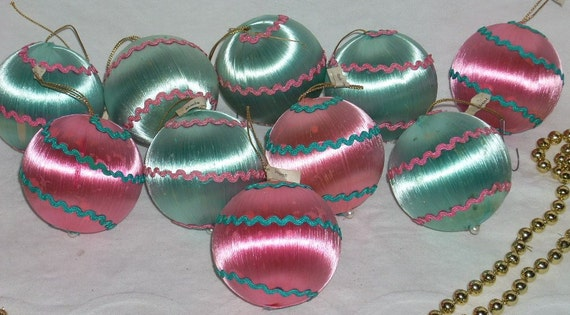 Vintage Blue And Pink Satin Sheen Christmas Tree By Diantiques
