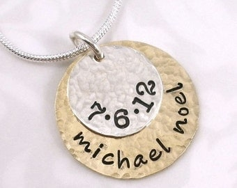Hand Stamped Mixed Metal Personalized Necklace