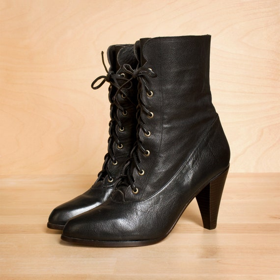 lace up boots 7 5 vintage black leather oxford by