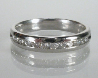 Vintage Diamond Wedding Ring - Channel Set - 0.18 Carats Diamond Total Weight