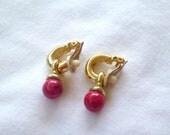 Vintage Golden/Red Hanging Clip Ons : C2