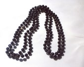 """Vintage, 24"""" LONG Black Pearly Infinity Necklace : N74"""