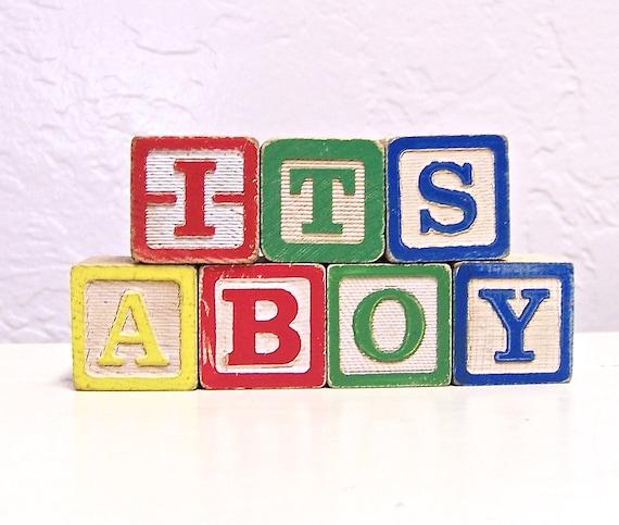 vintage wooden blocks - it's a boy