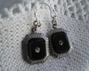 Vintage Art Deco Jet Black Glass Rhinestone Silver Dangle Earrings
