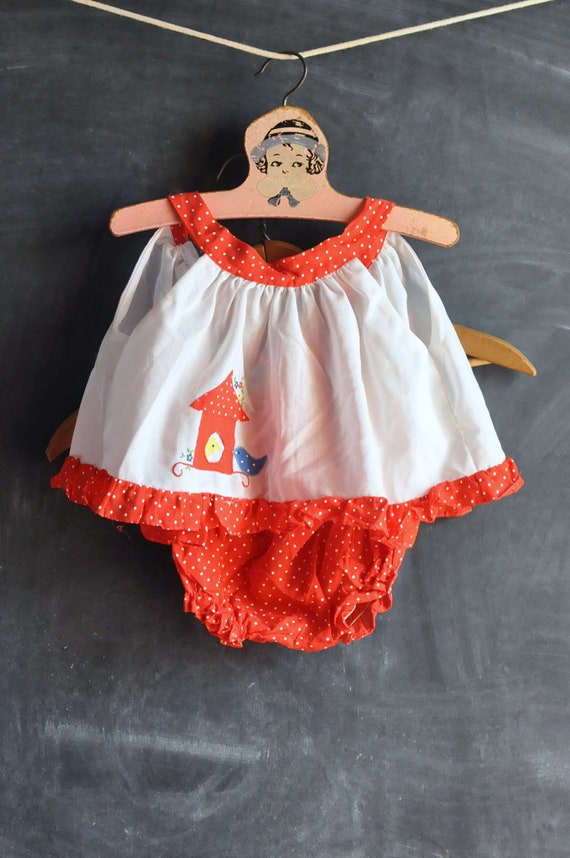 Vintage 1980s Birdhouse Sundress Outfit for Baby Girl