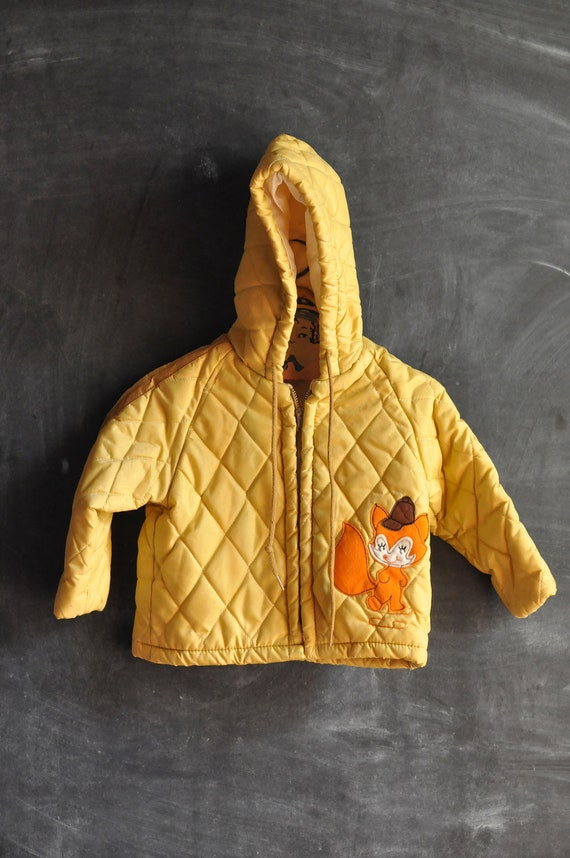 Vintage 1970s Quilted Yellow Fox Winter Coat size 2 Toddler