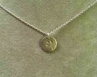 Smiley Face emoticon sterling silver pendant -- geek girl collection