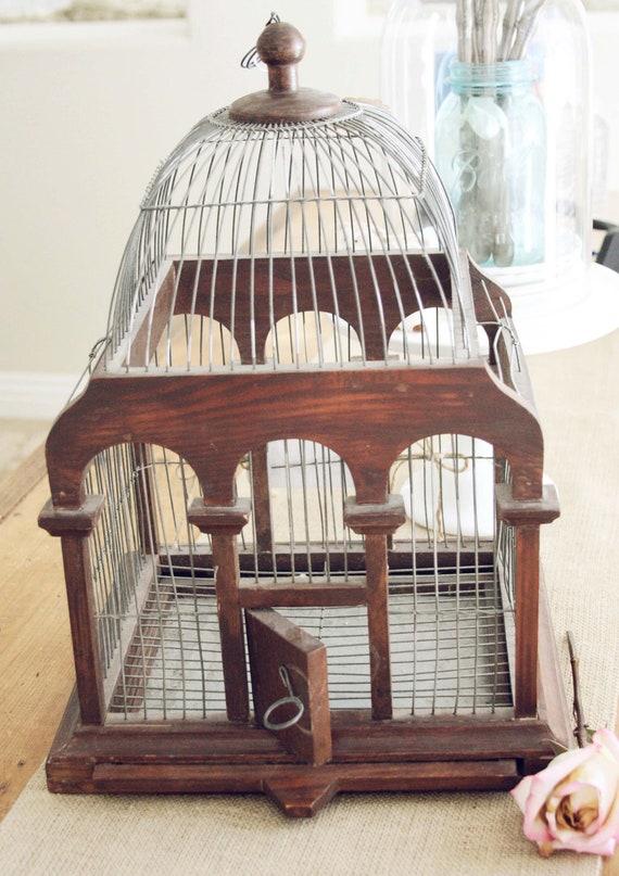 How Tweet it is- A Vintage Wood and Metal Birdcage