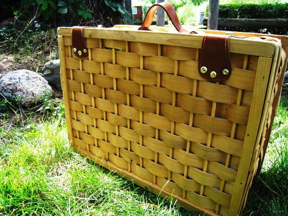 Vintage Wicker Picnic Basket with Table Setting Pieces Home and Living