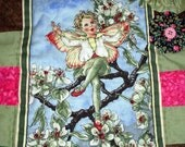 Flower Fairy Mini Quilt Handmade Cicely Mary Barker's Pear Blossom Flower Boy Fairies Nursery Room Decor