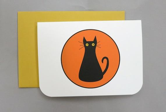 Black Cat Happy Halloween 4-Bar Folded Card