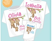 Set of Three Personalized Big Cousin Girl, Middle Cousin Girl, and Little Cousin Monkey Boy Tee Shirts or Onesies (09262012c)