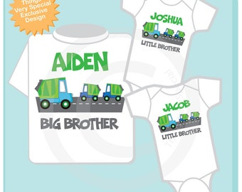Sibling Garbage Truck Shirt Set, Set of Three, Big Brother Shirt, Big Brother, and Twin Baby Brothers,  Personalized Shirt or Onesie