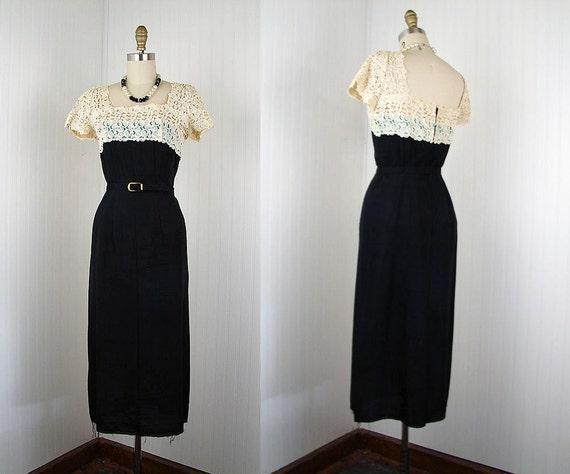 1950s Dress - Vintage 50s Dress Illusion Bust Silk Designer Hourglass Wiggle Cocktail Dress M - Uttermost