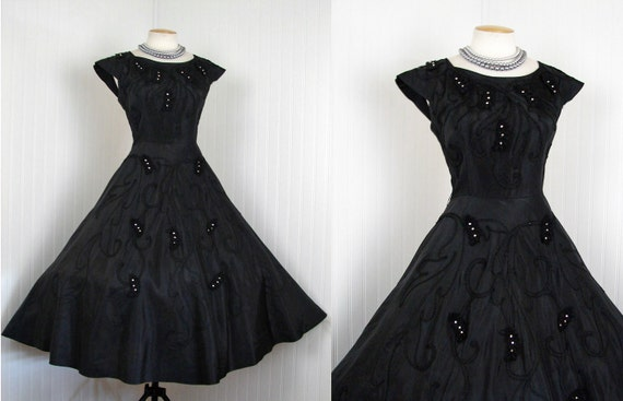 1950s Dress - Vintage 50s Dress Black Silk Taffeta New Look Designer Couture Full Skirt Party Rhinestones Passementerie M - Beyond Belief