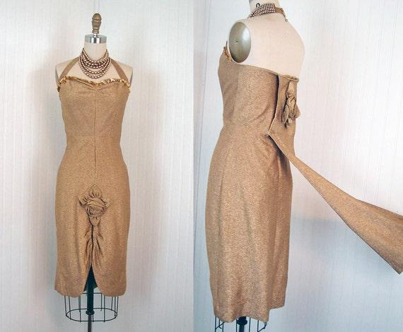1950s Dress - Vintage 50s 60s Dress Gold Lurex Halter Cocktail Party Burlesque w Train S - Glitter Gulch