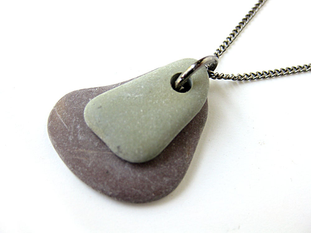 Zen rock necklace natural stone jewelry sage by authenticstone for How to make rock jewelry
