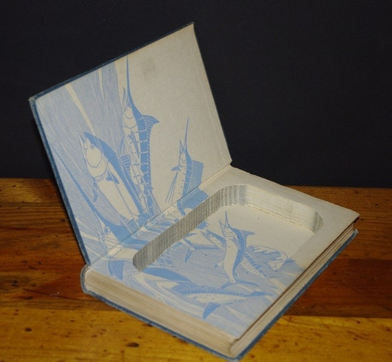 Hollow Book Safe Fishing The Atlantic cloth bound vintage silver tuna on the cover