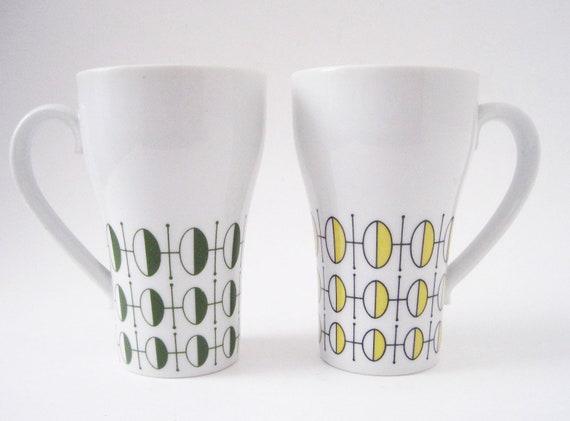 Vintage Modern Style Craft Tall Coffe Mugs Japan