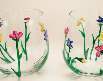 Wild Flowers, hand painted stemless wine glasses, painted wild flowers glasses, set of 2