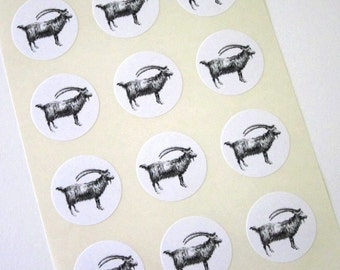 Goat Stickers One Inch Round Seals