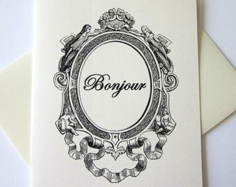 Bonjour Note Cards Stationery Set of 10 Cards