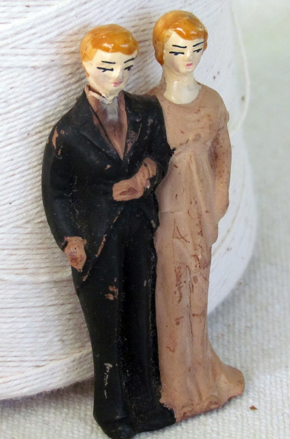 Tiny Vintage Bisque Bride and Groom Wedding Cake Topper- Slightly Shabby But So In Love    L21
