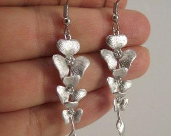 Cascading Silver Flower Earrings with Swarovski Crystals, Silver Earrings, Swarovski Earrings