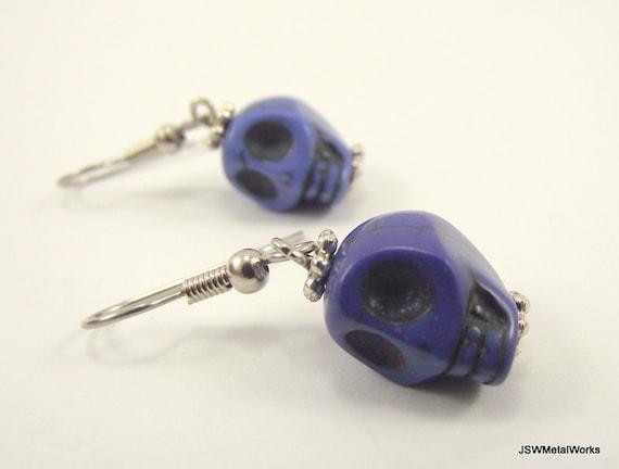 Mini Blue Skull Earrings, Small Earrings