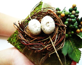 Moss Birds Nest Ring Bearer Pillow Alternative Personalized Wedding Ring Holder Clay Eggs Unique Natural Fall Wedding Theme