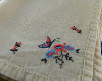 Vintage Hankie/Hanky,Pale Yellow Orange Embroidered Butterfly and Flowers: Butterfly Bush