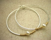 White Pearl Hoop Hand Forged Earrings Wire Wrapped Sterling Silver 14K Gold Filled