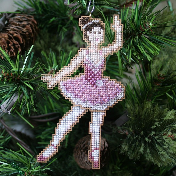Sugar Plum Fairy Cross Stitched and Beaded Holiday Christmas Tree Ornament - Free Shipping