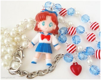 Sailor Moon Osaka Naru Necklace, Beaded Pearl Necklace with Character Pendant in Silver - Anime. OOAK