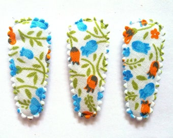 25 pcs - Cute Blue Flower Hair Clip COVERS For Toddler - size 35 mm - mix color