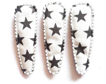 24 pcs - Cute Black star printed Hair Clip COVER  - size 55 mm