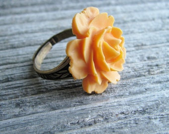 Orange Rose Flower Ring Statement Ring Acrylic Resin Cabochon Cabbage Rose Ring Tangerine Orange Botanical Jewelry Garden Inspired Jewelry