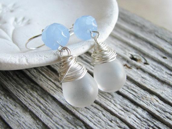 Handmade Beaded Earrings Blue Czech Glass Beads Clear Matte Briolette Earrings