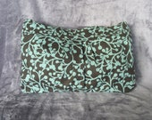 Teal and brown vine purse