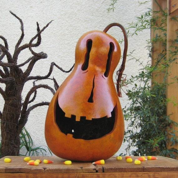 Halloween Jack O Lantern Gourd Fall Natural Decoration Candy Bowl Spider Natural Carved Orange