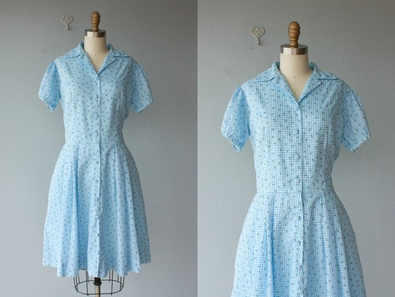 50s vintage / 50s dress / 1950s dress / 50s day dress / shirtwaist dress / gingham dress - size large