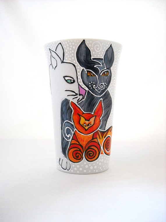 Feline Coffee Cup Hand Painted Porcelain Art Cat Mug