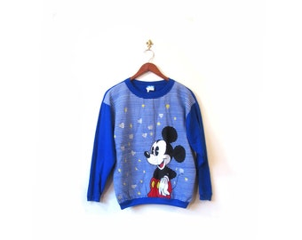 Vintage 80s Blue Mickey Mouse Screen Print Sweater xs s m